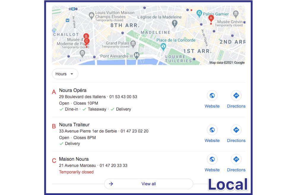 être premier restaurant Google